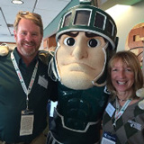 Kurt and Debbie Dunckel with MSU mascot